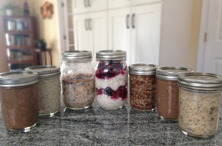 7 varieties of overnight oats